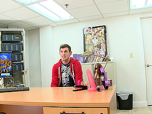 A fellow strokes off in an office and gets butt fucked