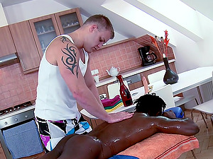 Sexy, Ebony-Skinned, Faggot Man With A Superb Figure Getting His Big Man rod Sucked