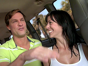 Horny fellas have rough faggot lovemaking in the backseat in a van