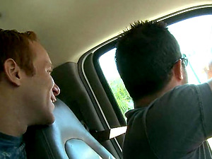 Sizzling Faggot Boy With Brief Crimson Hair Sucking A Stranger's Big Jizz-shotgun In His Car