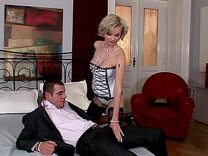 Curly blondie Tarra Milky gets disciplined by tattooed jock