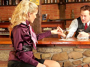 Gorgeous Sweet Cat get banged in a bar by a barmen