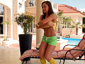 Hot dark-haired wench Myrna Joy gets her both slots pounded outdoors