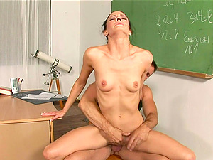 Sassy Dark-haired Lecturer In A Miniskirt Getting Screwed Hard-core