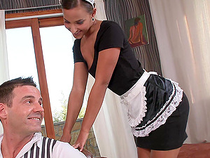 Sexy Maid Does Rectal and Milks Him Dry