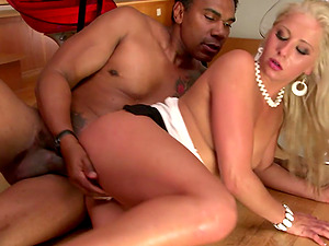 Candy Love deep throats a fat black manstick and welcomes it in her cootchie