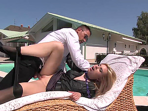 Sexy, Blonde Sex industry star Lovin? A Hard-core Fuck Next To Her Swimming Pool