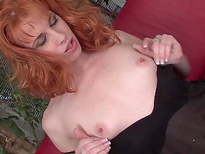 Fishnet Wearing Red-haired Mummy Gives Headjob And Takes Jizz-shotgun In Cunt