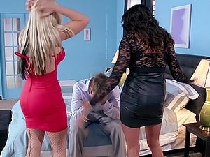 Hot stunners share a dude's big dick in a hard-core threesome