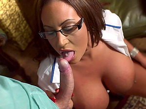 Huge-chested dark haired nurse Emma Butt tempts a medic and fucks him
