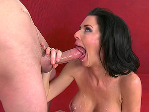 Cougar Cheerleader Stimulated As He Deep-throats Her Big Tits