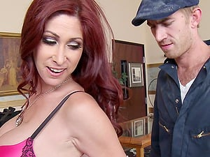Adorable red-haired cougar with big tits yelling while being smashed gonzo missionary