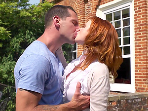 Red-haired dame in high high-heeled slippers providing her fellow blow-job before getting drilled gonzo outdoor