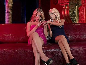 Ultra-cute Blonde Girl/girl Getting Her Taut Twat Tongued And Fingerblasted In A Nightclub