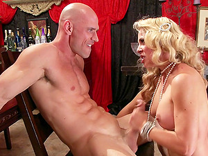 Pleasing Cougar With Hot Donk Providing Her Dude Handjob