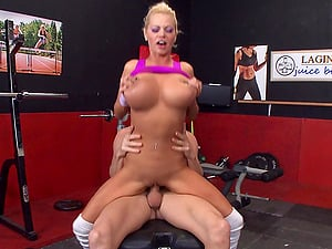Beautiful Blonde Cougar Luving A Mind-Blowing Cowgirl Style Fuck In A Gym