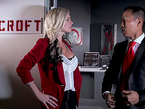 Big-chested blonde Alena Croft gets fucked by Keni Styles at her work place