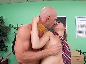 Nasty Callie Calypso wearing a school uniform gets fucked from behind