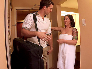 Chubby black-haired Claire Dames likes rubdown and gets fucked hard