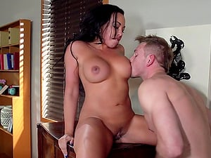 Chesty dark haired mummy gets amazingly fucked in an office