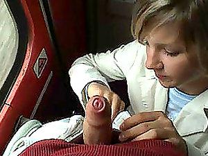 Horny woman deep throats a jizz-shotgun in the train in xxx Point of view clip