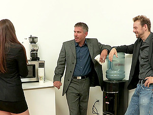 Erik Everhard and Mick Blue fuck all the crevices of a big-chested blonde cougar