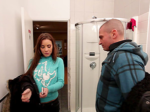 Shana Lane blows a stud's hard hard-on in the bathroom