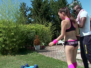 Interracial assfuck hookup outdoors for the promiscuous brown-haired Tiffany Doll