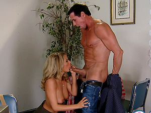 Peter North lets awesome blonde Bree Olson take a rail on his wang
