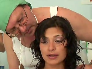 Two horny nurses entice an old fart and have FFM threesome hookup