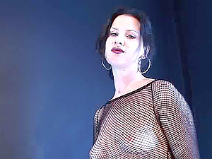 Smoking fetish solo clip with dark-haired mummy Mina, wearing cut-offs