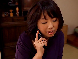 Big-titted Asian Wifey Calls Her Hubby For A Fuck