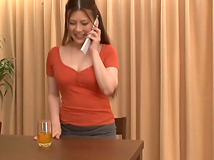 Japanese mom Kiriko Kasumi frigs her cunt after talking on the phone