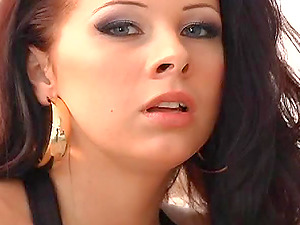 Fantastic dark-haired with big natural get her face group banged