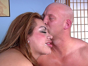 Chubby Shemale bj's hard-on and gets money-shot after booty fucking