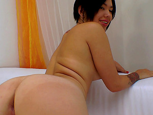 A lovely Asian doll has joy with a man sausage, a plaything and some whipped fluid