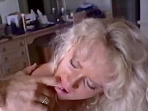 Captivating Blonde In Nylon Stocking Sucking Strenuous Nuts