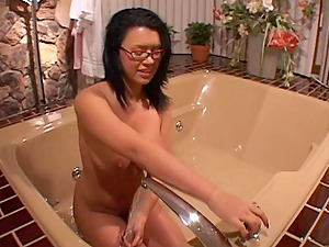 Dark haired Takes Bath And Fondles Down Cunt Before Being Screwed