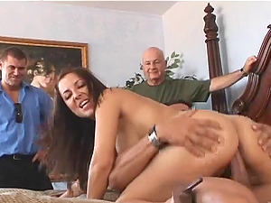 Black-haired hoe Maria Bellucci shows her cock-riding abilities in public