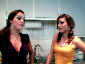 Sandy-haired Lesbos Munching Each Other Fuckboxes In The Kitchen