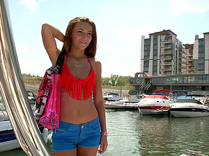 Slender hotty Alexis Brill gets her sleek cunt fucked deep in a boat