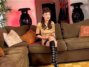 Captivating Solo Model Asian With Lengthy Hair Masturbating