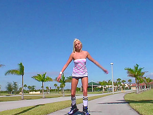 Endearing Blonde In Cut-offs Yells While Her Cootchie Is Logged Hard-core