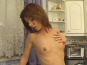 Attractive Solo Model In High High-heeled slippers Masturbating In The Kitchen
