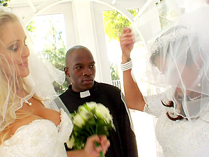 Charming Bride With Hot Donk Awarding A Big Black Penis Boobjob