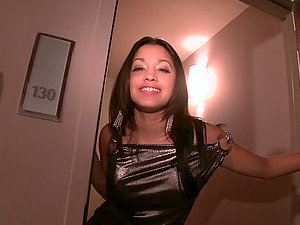 Very pretty latina honey starts sexing up her beau in a bathroom cabin
