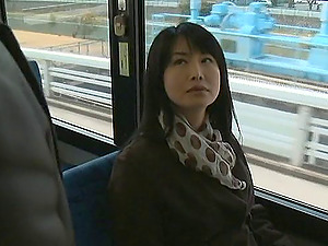 Stunning Asian Chick Gets Her Hairy Beaver Finger-tickled In Bus