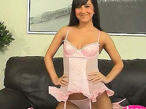 Black-haired Does Solo Getting off In Underwear And Playthings Fucks Cunny