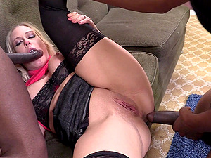 Angel Allwood gets her crevasses gorgeously fucked in interracial gang-bang