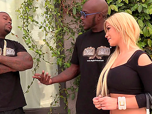 Terrific interracial MMF banging with buxomy blonde Bibi Noel